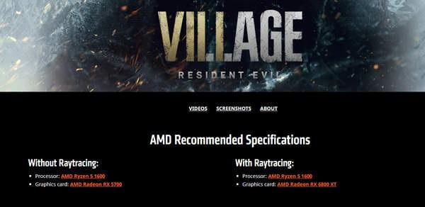AMD 宣布与卡普空合作:为《生化危机 8:村庄》提供性能支持,RX 6800XT 可流畅运行光追