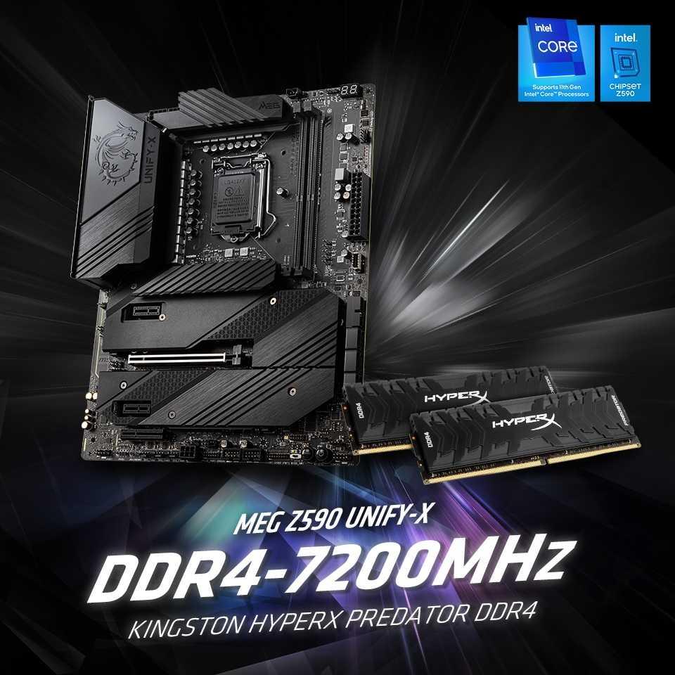 新纪录,微星 MEG Z590 UNIFY-X 主板将 DDR4 内存超频至 7200MHz