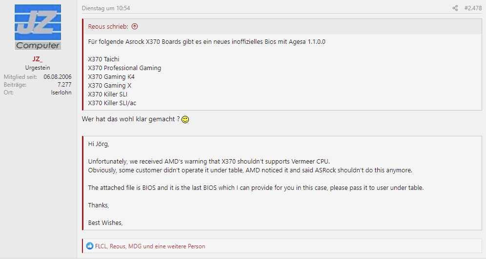 AMD 阻止厂商为 X370 主板提供新 BIOS 以支持 Ryzen 5000 系列