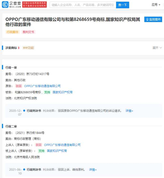 OPPO 诉争 OPPO 商标终审败诉